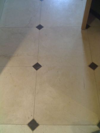 Marble stone floor before cleaning and sealing